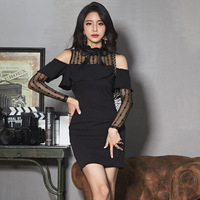 VANOVICH 2019 New Korean Style Women Dress Sexy Solid Color Wild Off Shoulder Ruffled Lace Stitching Dress Female