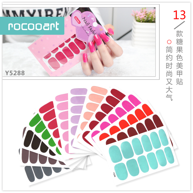 Free Shipping New 2019 Hot 13 Single Pure Color Series Classic Collection Manicure Nail Polish Strips Nail Wraps,Full Nail Sheet