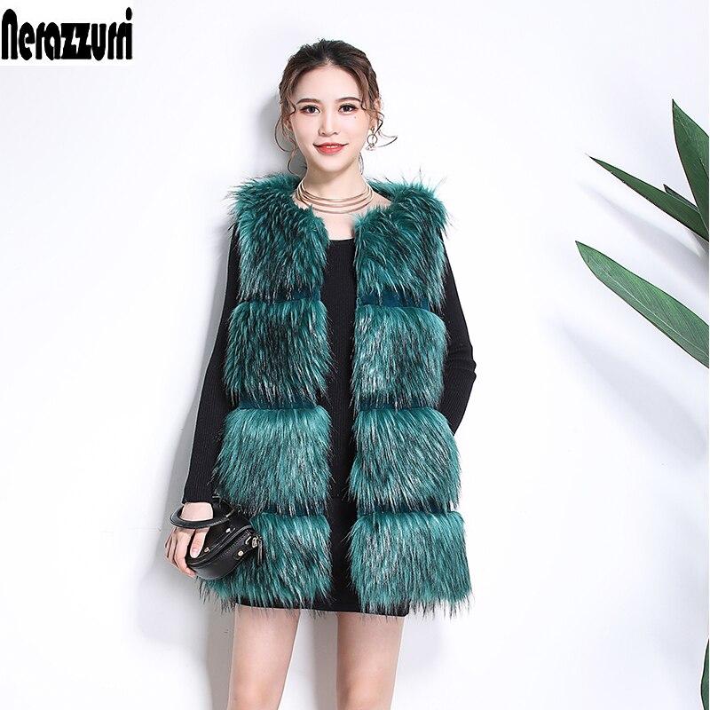 Nerazzurri Faux Fur vest women sleeveless jacket striped high quality women fashion 2019 winter fox fur