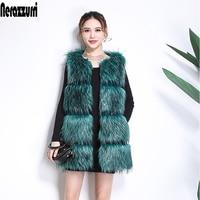Nerazzurri Faux Fur vest women sleeveless jacket striped high quality women fashion 2019 winter fox fur gilet plus size 5xl 6xl