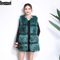 Nerazzurri Faux Fur vest women sleeveless jacket striped high quality women fashion 2019 winter fox fur gilet plus size 5xl 6xl