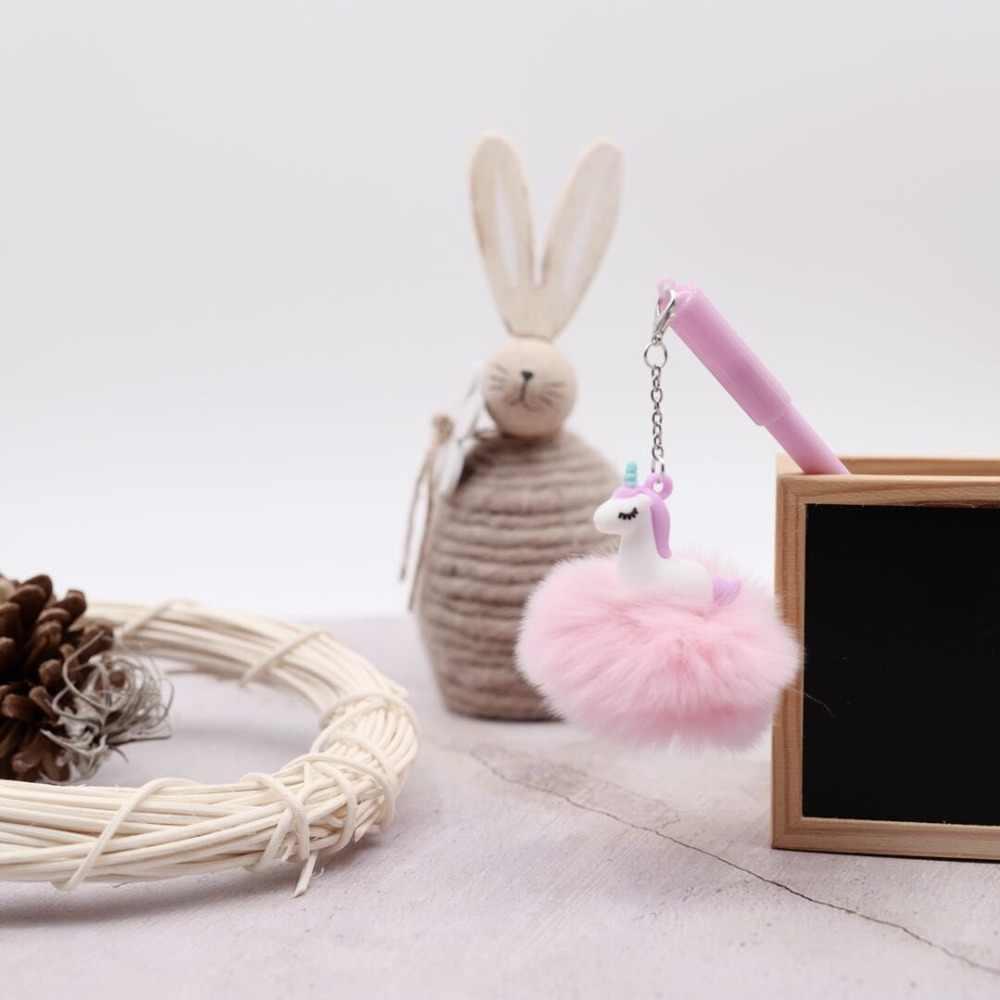 Kawaii Единорог мяч меховой шарик-подвеска гелевая ручка милый 0,5 мм черные чернила нейтральный ручка сувенир канцелярские школьные принадлежности