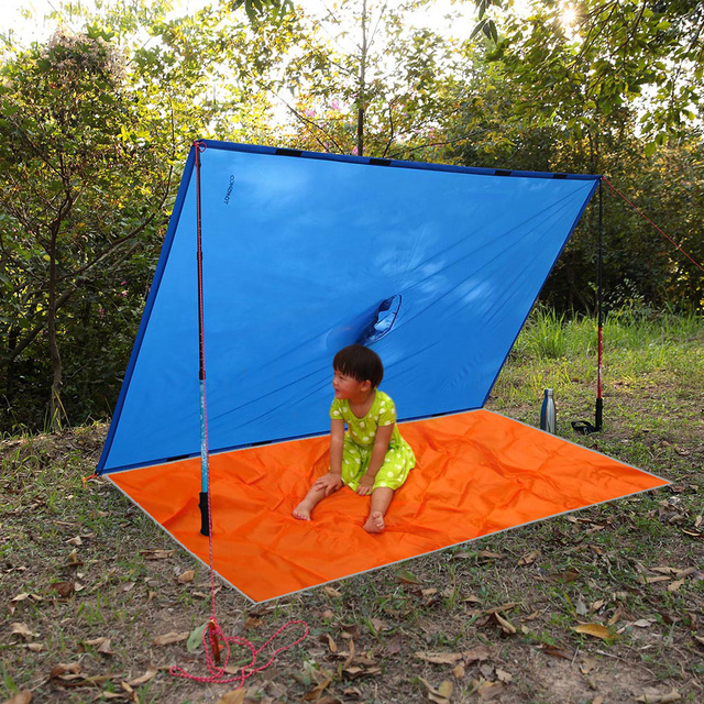 3 in 1 Raincoat Backpack Rain Cover Waterproof Tent Hood Hiking Cycling Rain Cover Poncho Rain Coat Outdoor Camping Tent Mat