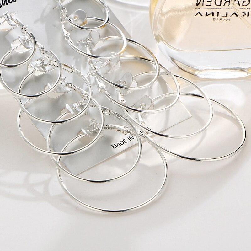 6 Pair Women Large Circle Silver Color Hoop Earrings Gold for Women Round Huggie Creole Earrings Set Vintage Hoops Ear Rings