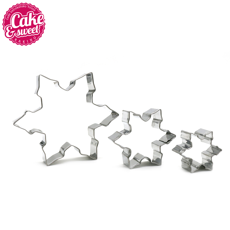 3pcs METAL biscuit Star Cookie Cutter Cake Mould Sugarpaste Decorating Pastry