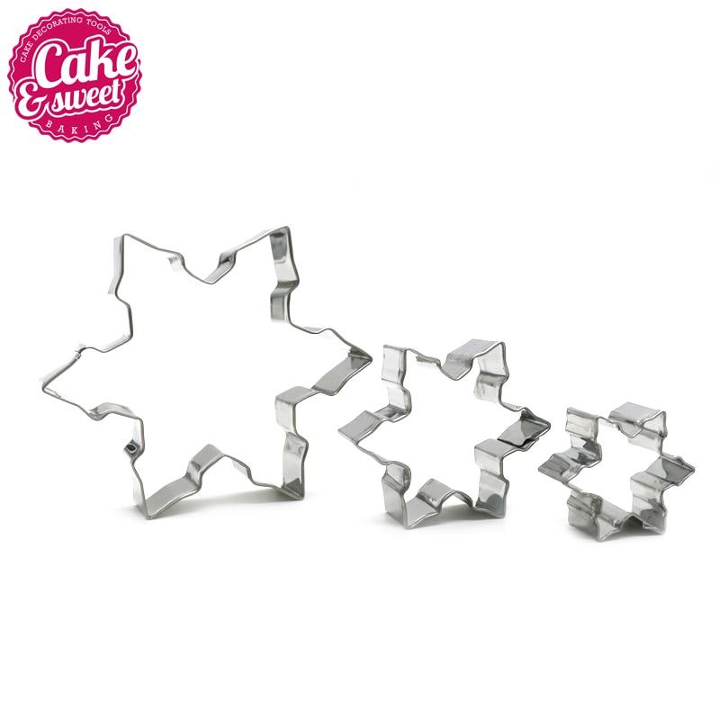Cookie vágók, 3db rozsdamentes acél hópehely alakú cookie vágó keksz sütőeszköz fondant péksütemények díszítő szerszámok