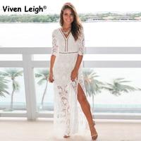 Viven Leigh 2018 Elegant Hollow Out Floral Lace Dress Boho Summer Dresses Beach Sundress Party Vestidos