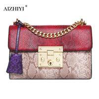 Women Patchwork Crossbody Bags PU Leather Handbags Snake Skin Chain Bag Wome Shoulder Bag For Women