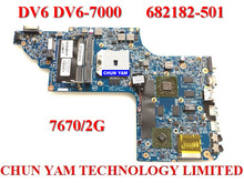 Wholesale laptop motherboard 682182-501 for HP DV6 DV6-7000 682183-001 7670/2G Notebook systemboard 100% Tested 90 Days Warranty