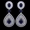 Nuevo diseño de lujo azul circón pendientes para las mujeres, de alta calidad de platino plateado joyería de moda para la boda/fiesta/regalo