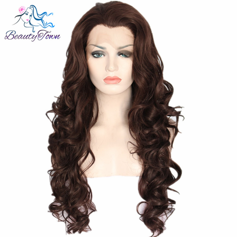 BeautyTown Brow Color Heat Resistant Hair 150 density Cosplay Party Synthetic Lace Front Wig With Widow