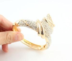 Image 4 - Conjuntos de joyas de boda con diamantes de imitación de aleación de Color dorado, collar, pulsera, anillo, pendientes para mujer, novia, venta al por mayor