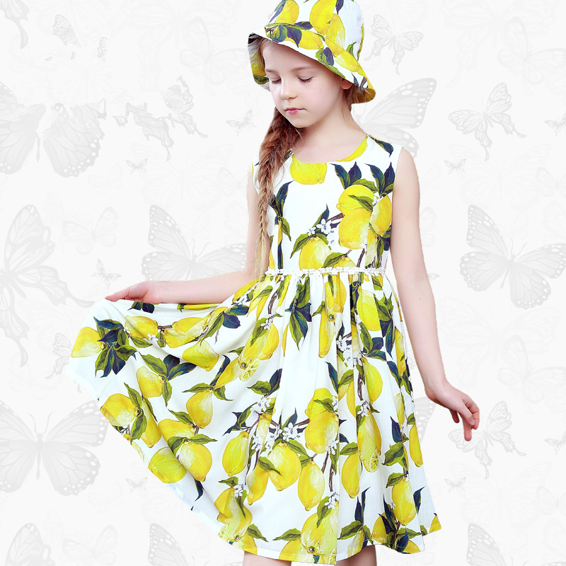 W.L.Monsoon 2018 Spring and summer lemon sleeveless Girl dress Summer dress child Princess dress Cotton Female Print boy Dress palm print cami dress