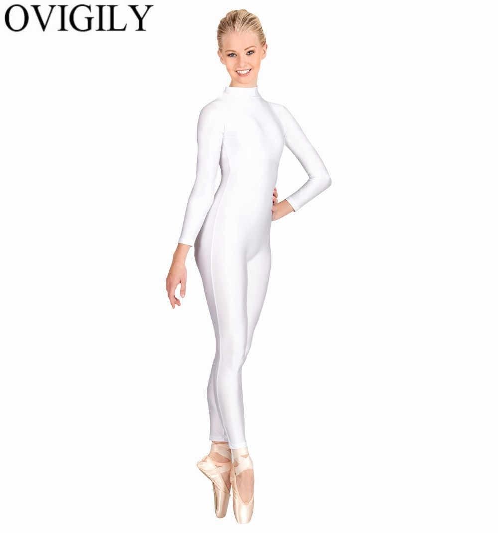 GODANCE Women Unitards High Neck Long Sleeve Turtleneck Black One Piece Bodysuit