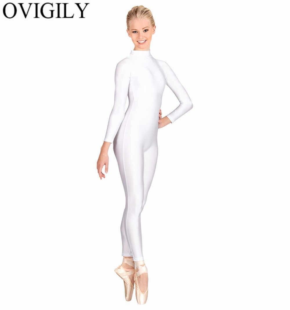 OVIGILY спандекс Водолазка с длинным рукавом без ног Unitards для женщин нейлон цельнокроеное черное танец Unitard боди костюмы зентай