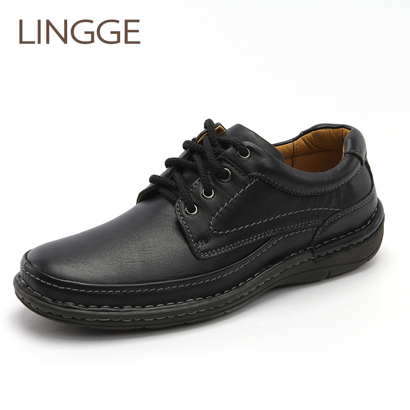 LINGGE Brand lace-up men's shoes casual basic genuine leather men shoe big size non-slip rubber shoes leisure spring shoe