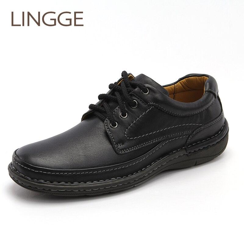 Lingge/бренд, на шнуровке мужские туфли, повседневные натуральная кожа мужская обувь Большие размеры нескользящая резиновая обувь для отдыха ...