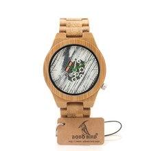 БОБО ПТИЦА H17 Бамбука Мужские Часы Оригинал Бамбука Случае Движение Кварцевые Часы Зеленый Указатель Наручные Часы В Качестве Подарка для Мужчин