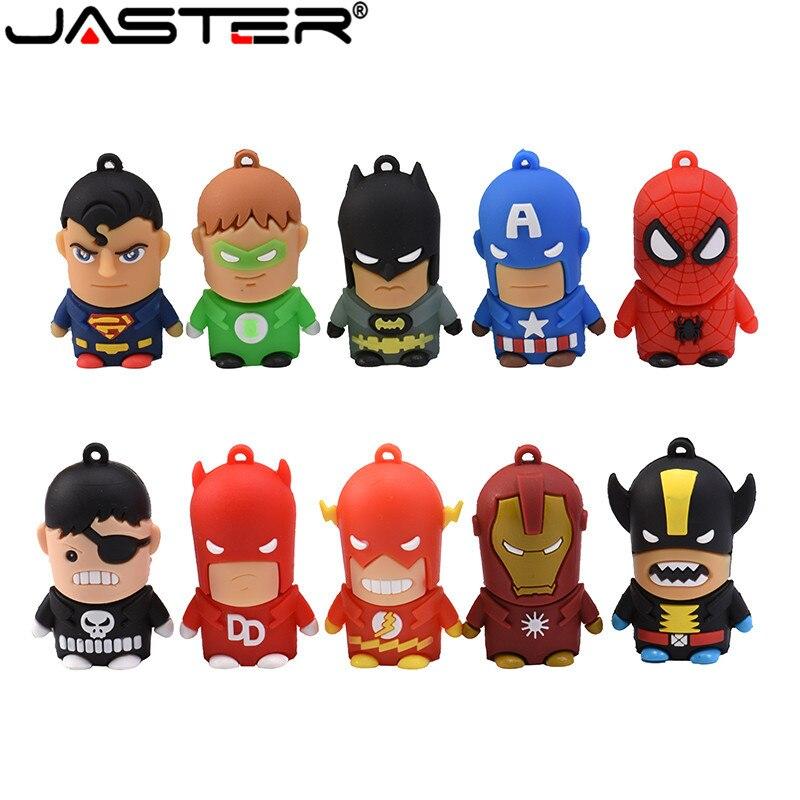New Cartoon Super Hero USB Flash Drive 8GB 16GB 32GB 64GB Iron Man Flash Memory Batman Pendrive Captain America Pen Drives