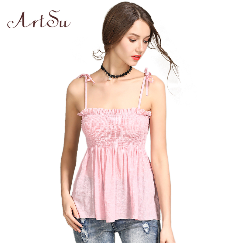 ArtSu Summer   Tops   Women Ruffle Strapless Sexy Beach   Tank     Top   Lace Up Backless Cute Casual Vest Boho Camis   Top   ASVE20207