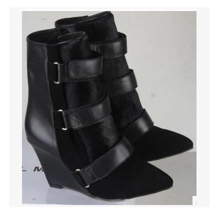 Autumn and winter Leather Slope Ankle Boots Pointed Toe High Heel Scrub Belt Buckle Boots Wedges women shoes