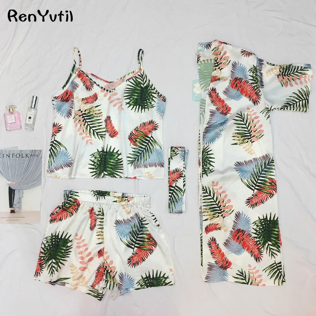 RenYvtil 2018 Fashion Summer Women Silk Bathrobe 3 PICS Pajamas Home Cloth Female Short-sleeve Nightdress Leisure Sleepwear