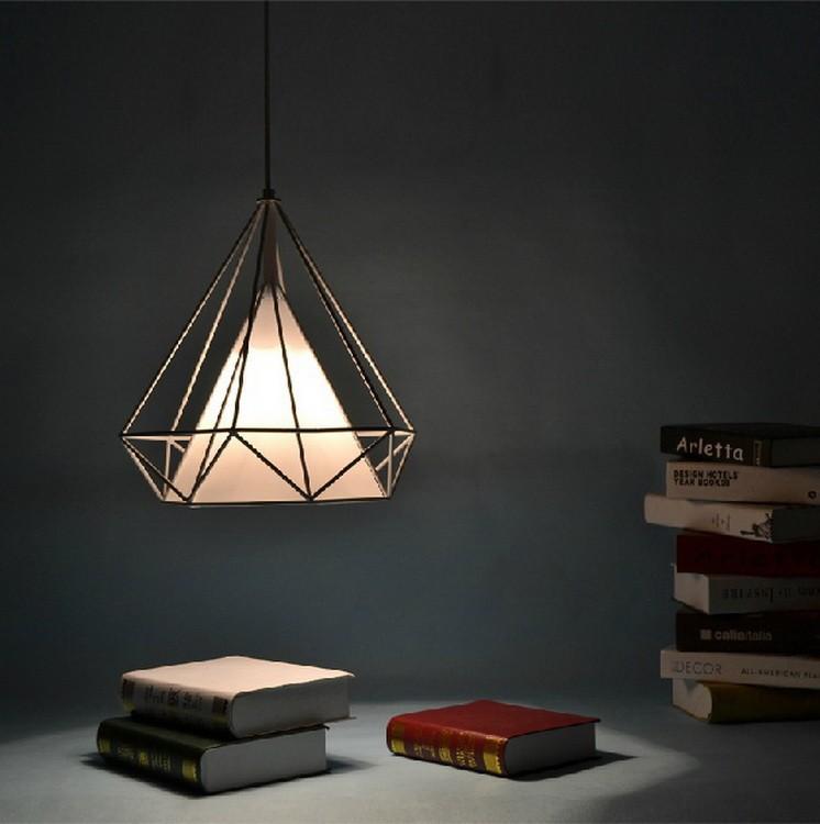 birdcage chandeliers Scandinavian modern minimalist art pyramid iron chandelier creative restaurant lights (12)