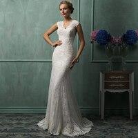 Vestidos De Novia 2015 Gorgeous Lace Mermaid Wedding Dresses Appliques Back Cover Button Bridal Dresses Shopping