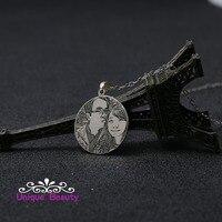 925 solide Silber Personalisierte Bild NecklaceEngraved Charakter Runde Collier Maßgeschneiderte Geburtstag Tag Gif