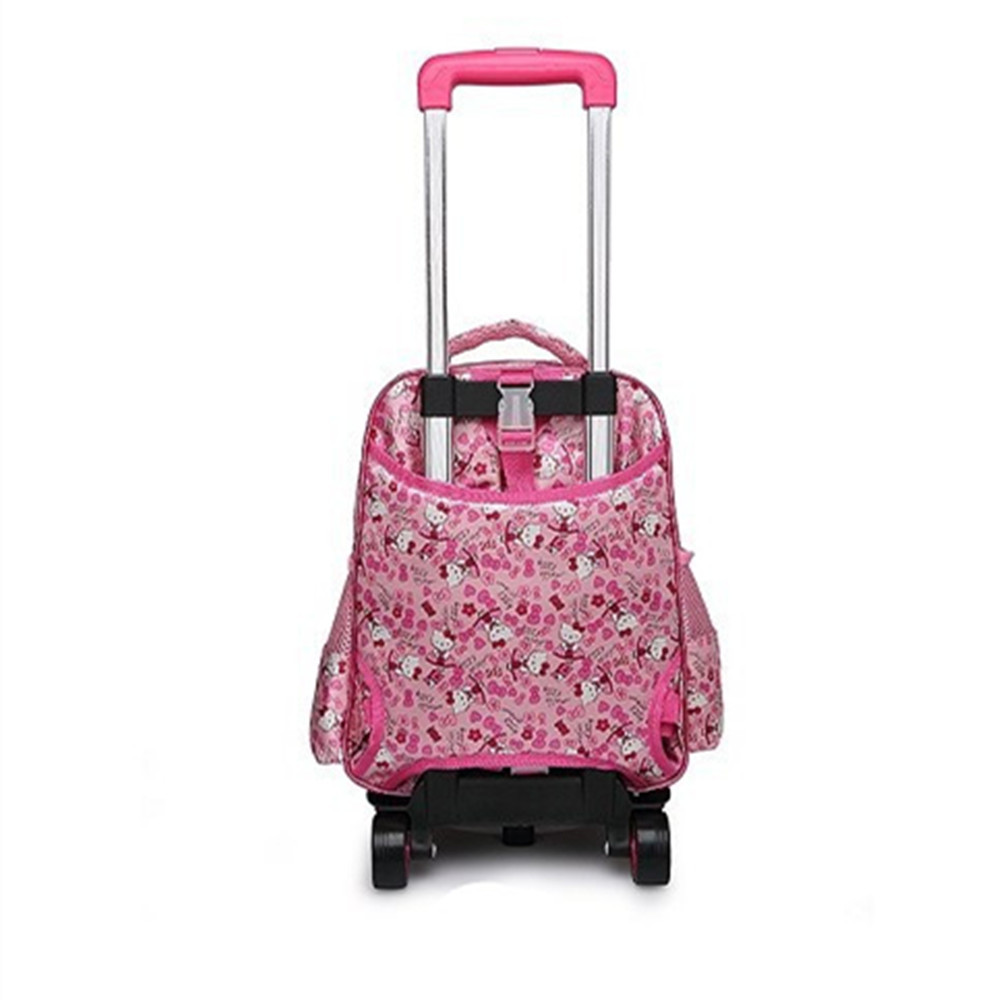 c64bccc5b4a9 Kids Removable Trolley Hello Kitty School Bags With Wheels Girls Cute Kitty  Rolling School Bags Child Cartoon Wheeled Backpacks-in School Bags from  Luggage ...