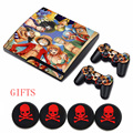 ONE PIECE Cartoon Classic Skin Protective Reusable Vinyl Decal Sticker+4 Silicone Caps for Dualshock3 PlayStation 3 slim Console