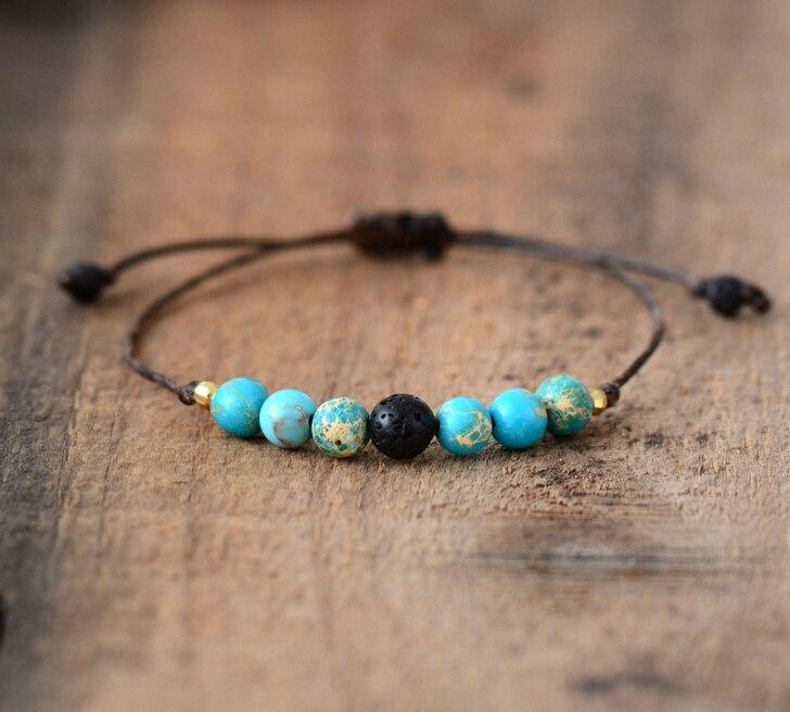 Простой браслет из натуральных камней, регулируемый браслет из лавы ручной работы, браслеты бохо из бисера, Прямая поставка, ювелирные изде...