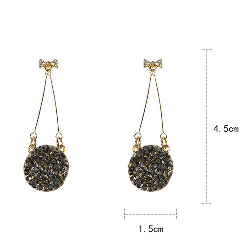 Luxury Black Shining Crystal Round Drop Earrings Fashion 925 Silver Pin Bow Long Hanging Earrings For Women Trendy Charm Jewelry in Drop Earrings from Jewelry Accessories