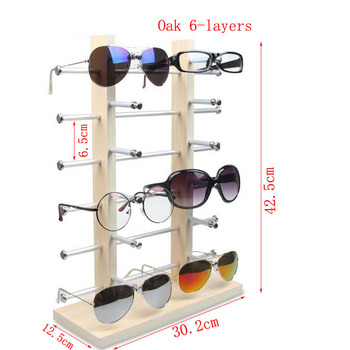 Hot selling Double Row Solid Wood Base Glasses Display Stand Aluminum Alloy Sunglasses Display Stand Myopia Bracket Storage Rack hot sell metal tie display rack necktie display stand