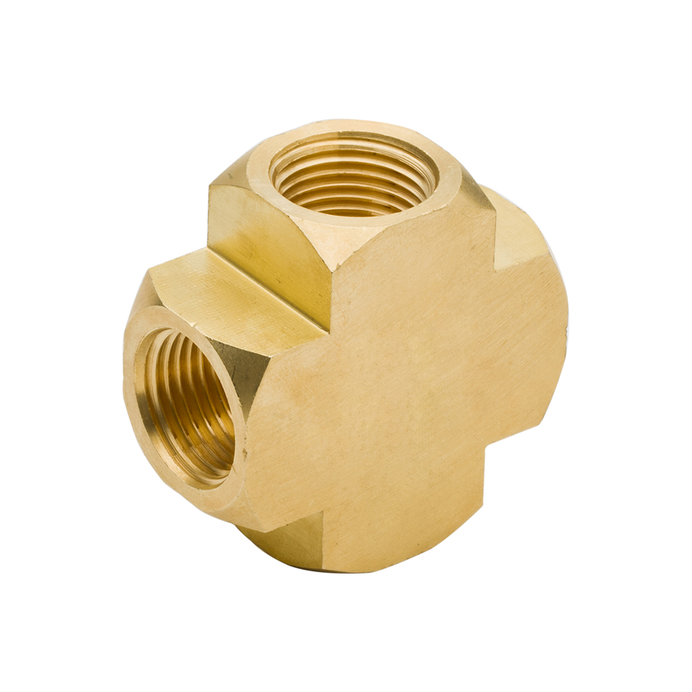 3950 2pcs Brass Pipe Fitting 4 Way Connector Barstock Cross 1/8 1/4 3/8 1/2 NPT Female Thread for Plumb Water Gas Pipe