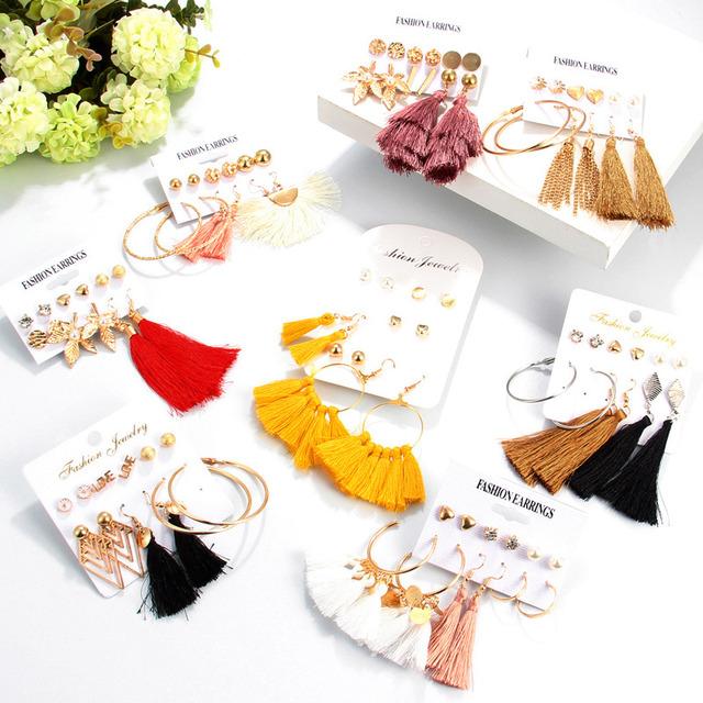 6 par/zestaw moda Tassel okrągły wkręt zestaw kolczyków dla kobiet Trendy mieszane czarne akrylowe oświadczenie koreański długi zestawy kolczyków