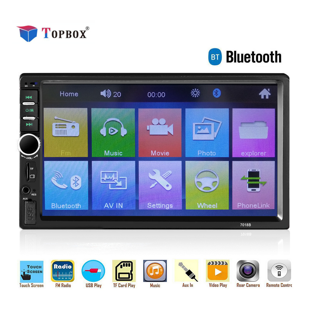 Topbox 2 Din Car Radio Car Stereo Tuner Bluetooth 7 inch Touch Screen 12v auto Audio Autoradio FM/MP5/USB/AUX Car Backup Monitor недорого