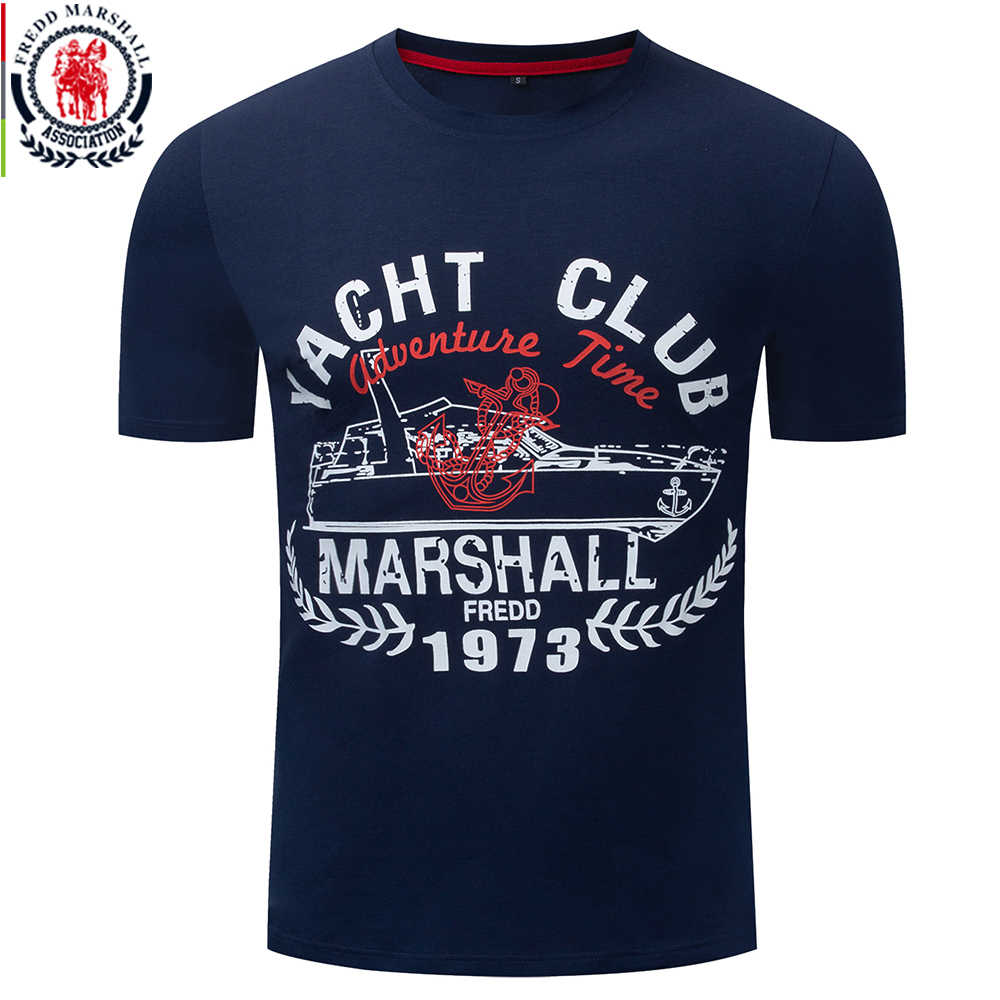 Fredd Marshall 2019 New 100% Cotton T Shirt Men Yacht Print Tshirt Short Sleeve O-neck Casual Soft Tee Shirt Homme Plus Size 330