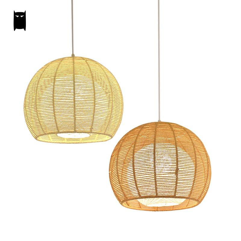 Handmade Hemp Rope Beige Brown Ball Globe Sphere Shade Pendant Light Fixture Simple Nordic Japanese Art Suspension Lamp Balcony