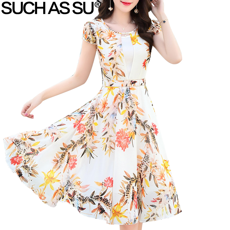 New 2018 Chiffon Bohemian Beach Dress Women O Neck Short Butterfly Sleeve Vintage Pleated Dresses M