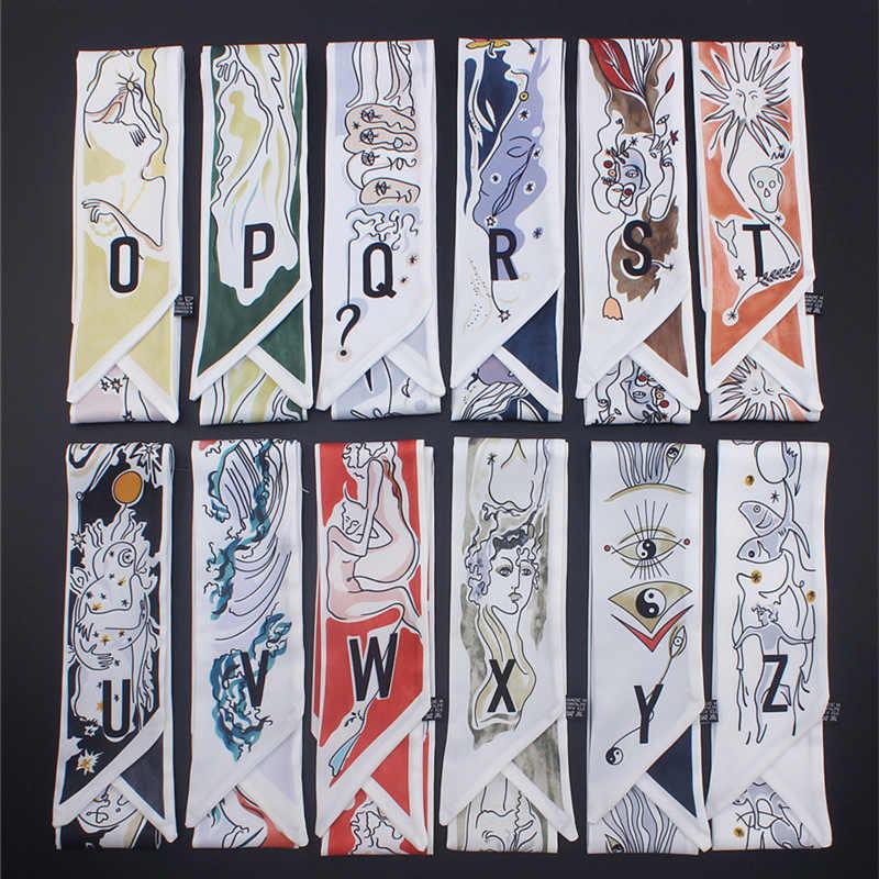 26 מכתבי משי צעיף נשים יוקרה מותג עיצוב סקיני צעיפי אופנה לבוש ראש הדפסת ארוך תיק אביזרי סרט מטפחת