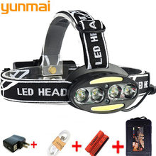 yunmai Headlight headlamp 4* XM-L T6 +2*COB+2*Red LED HeadLamp USB rechargeable Flashlight Torch Lanterna Ues 18650 battery s7(China)