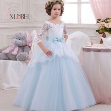 Big Bow Princess Lace Flower Girl Dresses Floor Length 3/4 Sleeves Girls Pageant Dresses First Communion Dresses
