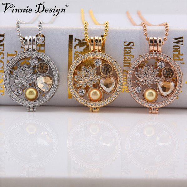 Us 601 29 Offvinnie Design Jewelry Interchangeable 35mm Crystal Coin Holder Pendant Necklace With Lotus Flower Coin Disc 80cm Ball Chain In