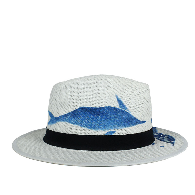 31ec6aaa Hand Painted Summer Straw Sun Hat For Women Wide Brim Beach Panama Hat With  Blue Fish Sunbonnet Cap Size 58CM-in Sun Hats from Women's Clothing ...
