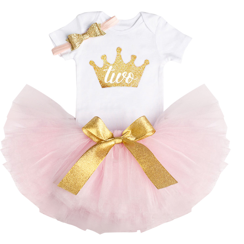 New Little Baby Dresses Newborn Baby Girl Clothes Sets Romper+Tutu Skirt+Headband 1st Birthday Party Outfit Little Baby Dresses 2pcs per set hot pink baby girl crown tutu infant 2nd birthday party outfit romper bubble skirt baby girls second birthday dress