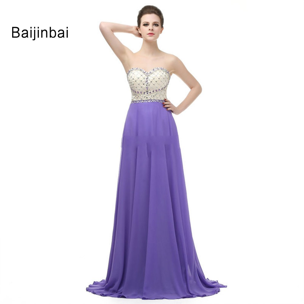 Baijinbai New Arrival A Line Purple Elegant Long Girls Bridesmaid Dresses 2016 Custom Made Wedding Party Dress Vestidos S10707