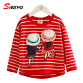Kids T Shirt Spring New Fashion Patter Printing 2017 T-shirt For Children Striped O-neck Long Sleeve Girls Clothes 4931W