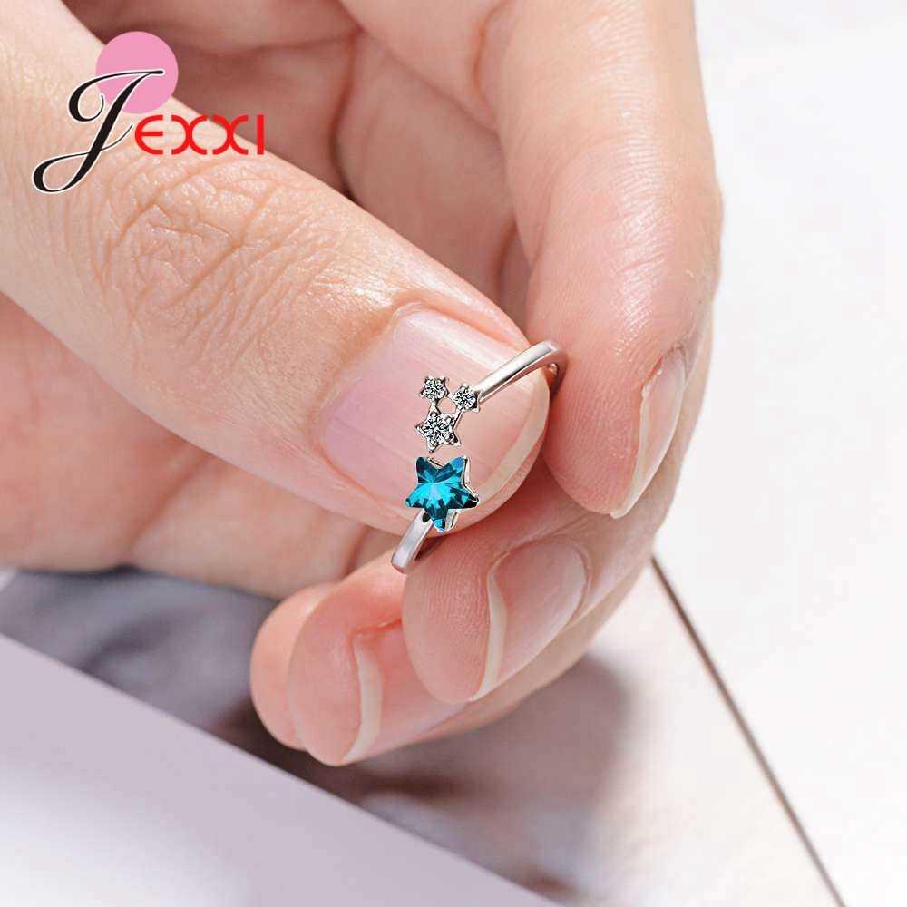 Новый последний звезда палец кольцо 925 стерлингового серебра ювелирные изделия Синяя Звезда Любовь подарок аксессуары для свадьбы, помолвки для женщин Девушка