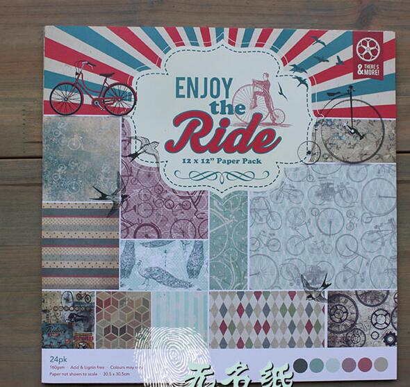 DIY Album Photo Scrapbooking set  Decorative Papers  Enjoy th Ride Series 12inch X 12 inch  Single Side Printed 24 pcs/Set